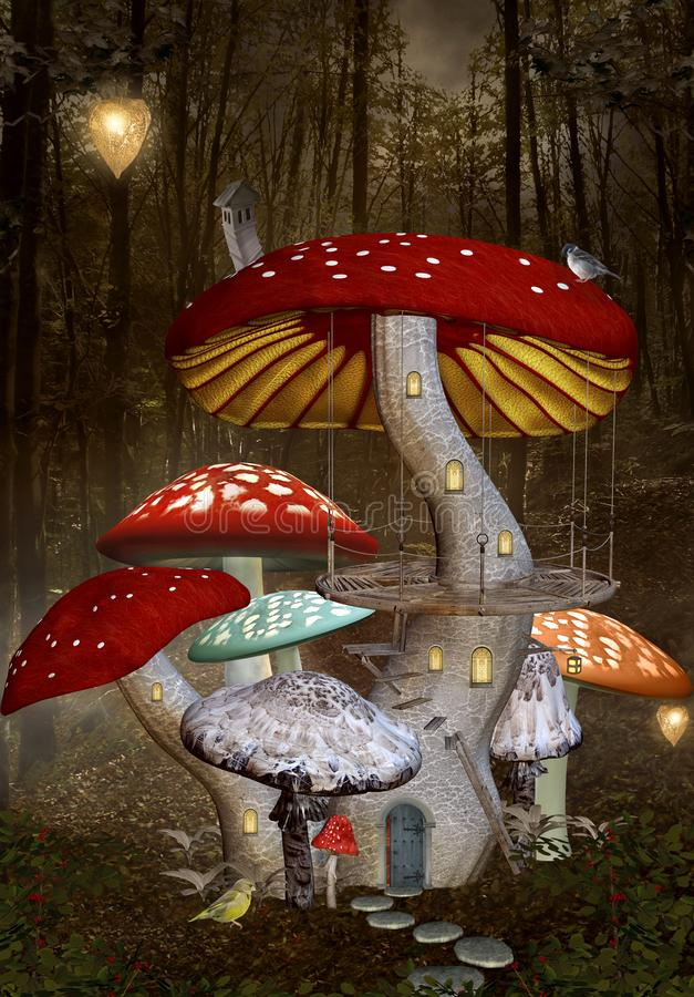 Fantasy elves house in the enchanted forest. Enchanted nature series - elf palace inside a red mushroom – 3D illustration vector illustration