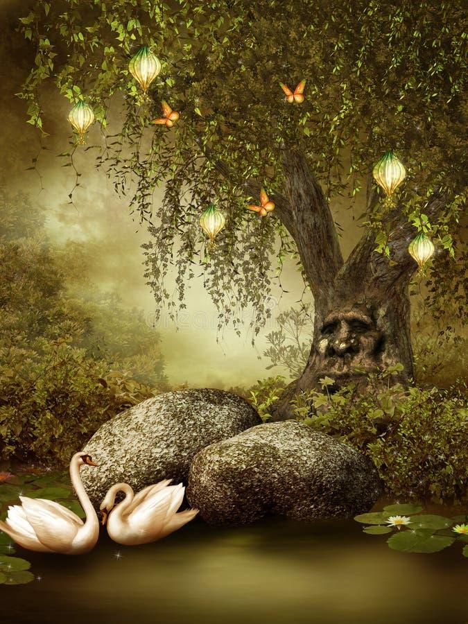 Enchanted pond stock illustration