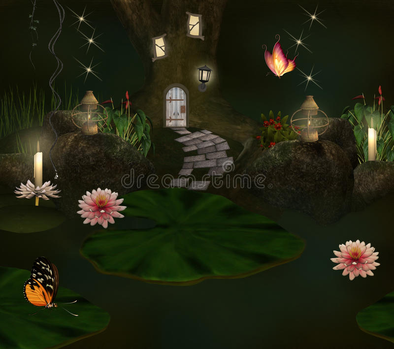 Download Enchanted Pond And Elf House Stock Illustration - Image: 25198764