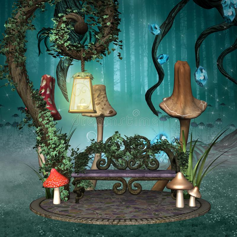 Enchanted resting place. With bench and lantern in a fantasy forest stock illustration
