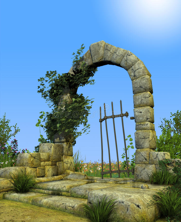 Enchanted Secret Garden Gate Arch stock illustration