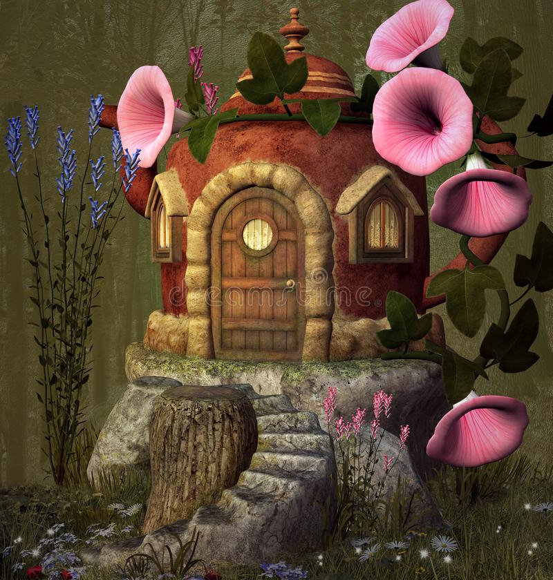 Secret house inside a teapot. Enchanted teapot house with pink bluebell and lavender – 3D illustration vector illustration