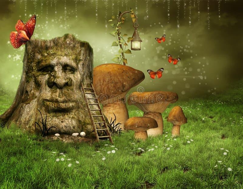 Enchanted tree with mushrooms royalty free illustration