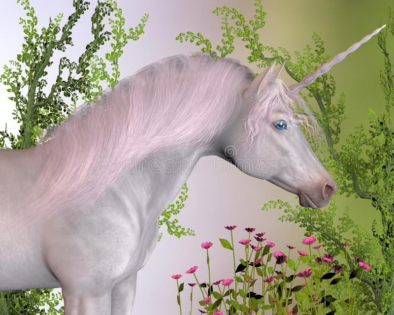 Enchanted Unicorn. A white enchanted unicorn mare with pink mane stands by pink flowers and green ivy vines royalty free illustration