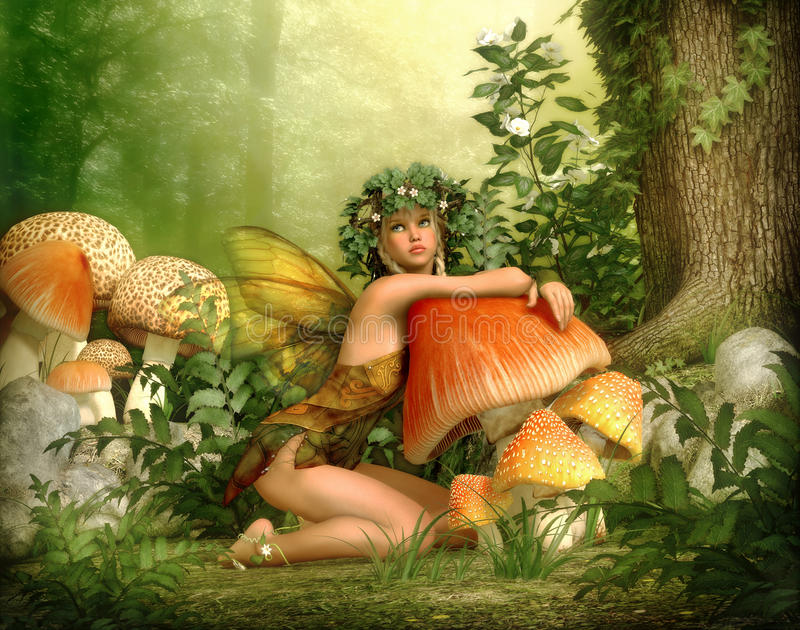 Enchanted Wood, 3d CG. 3d computer graphics of a fairy with a wreath on her head, leaning against a fungus