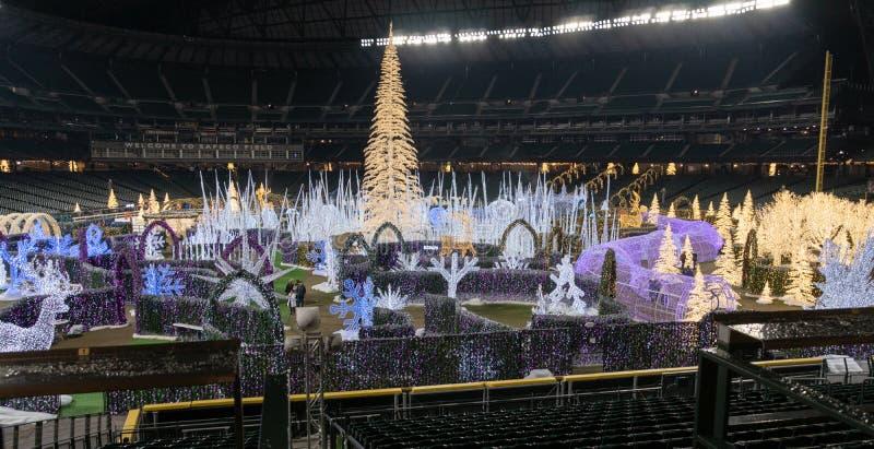 Enchantez l'événement de Noël au champ de Safeco image stock