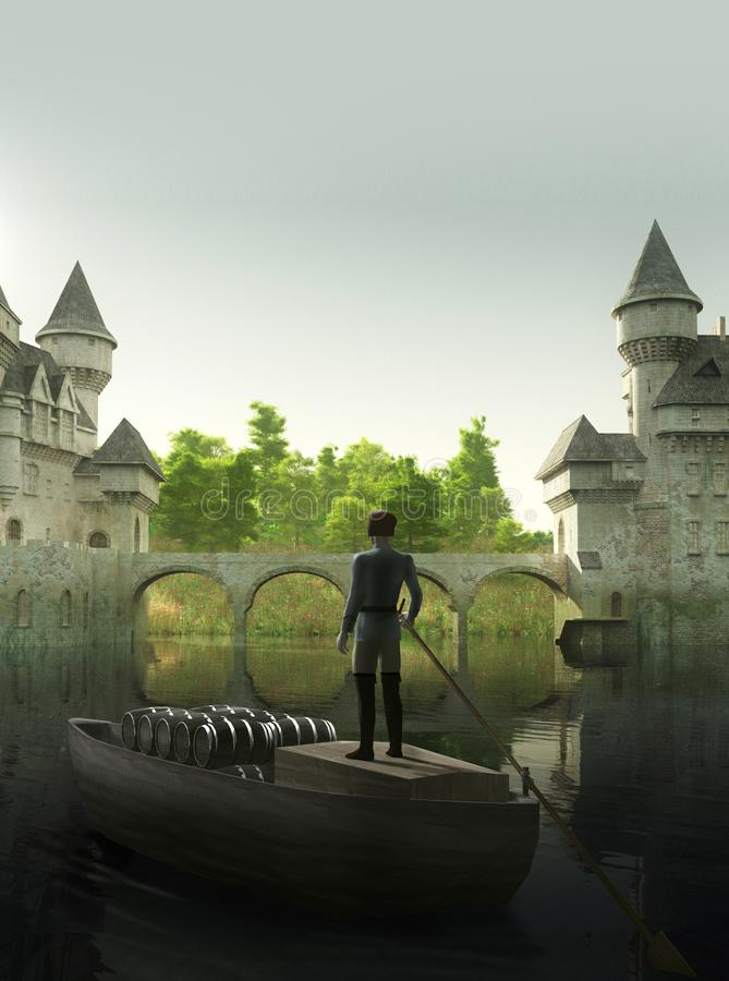 Enchanting Castle by a River and a Cargo Boat stock illustration