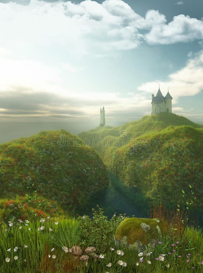 Enchanting Castle by the Sea stock illustration