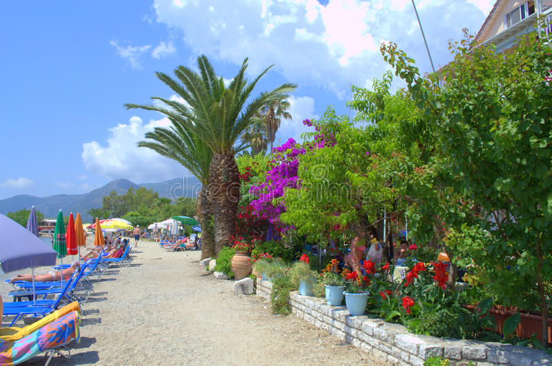 Enchanting colorful Greek resort beach stock photo