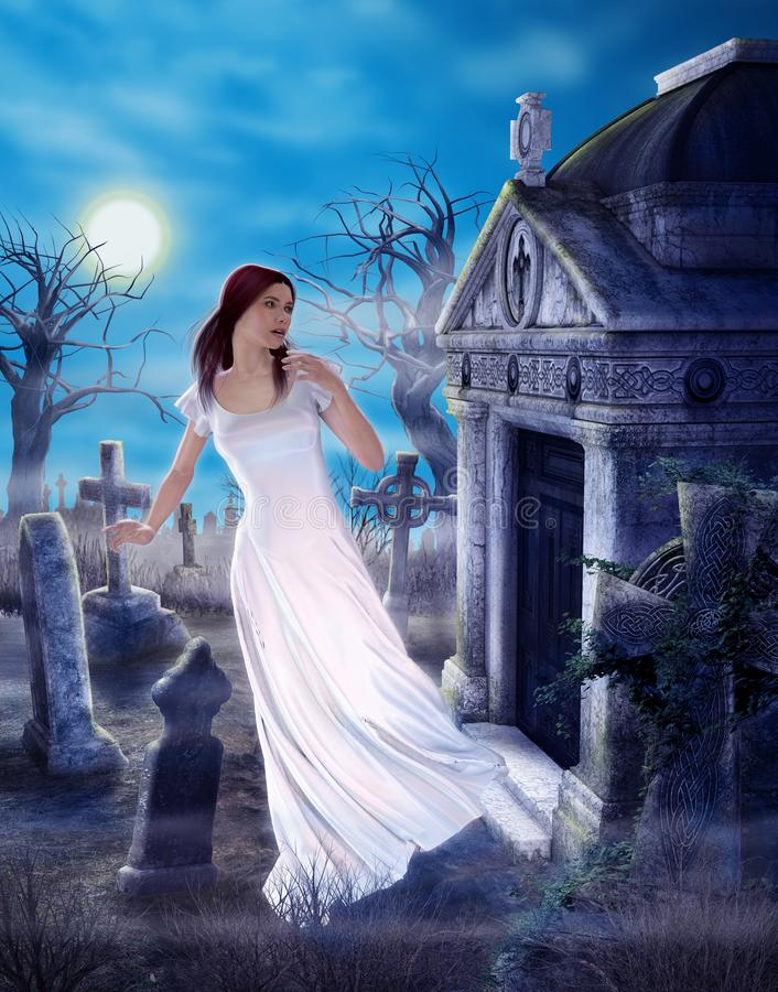 Enchanting Ghost Grief of Love Lost Spooky Cemetary. An enchanting female ghost griefing a lost love in a spooky ancient cemetary, 3d render painting vector illustration