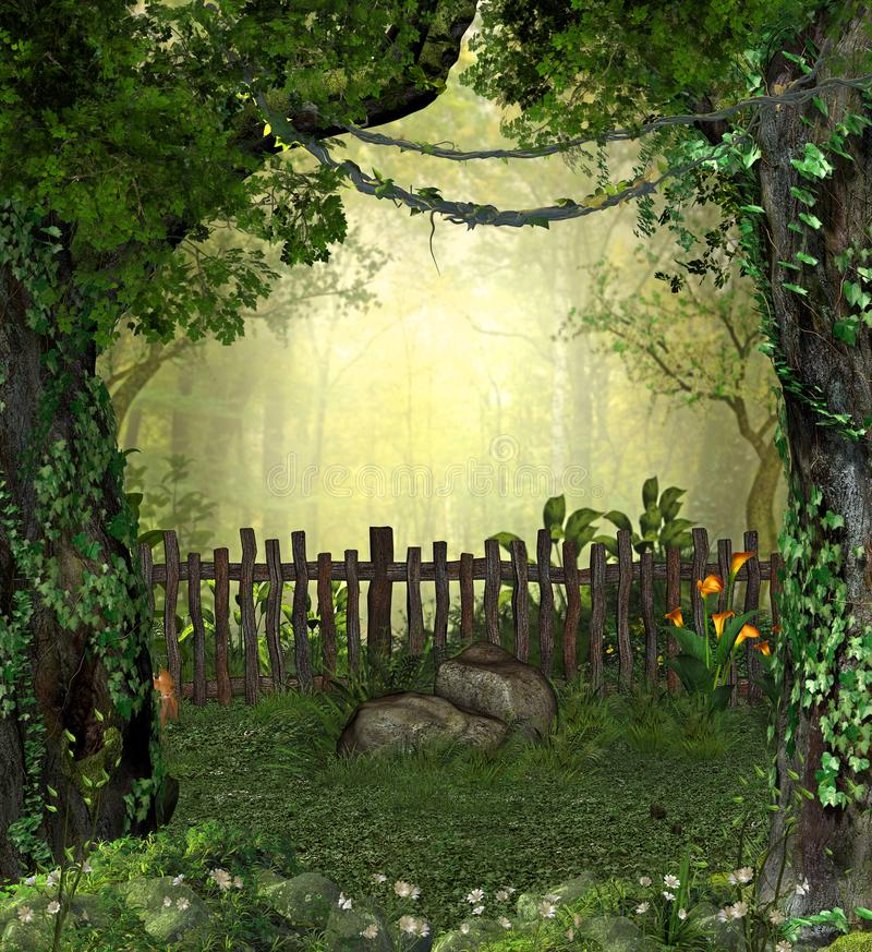 Enchanting Magical Fairy Garden in the Woods. 3D rendering of a enchanting fairy garden in a forest with flowers royalty free illustration