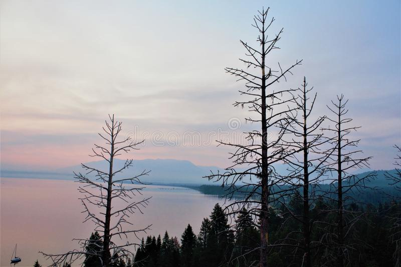 Dreamy Escape. This enchanting view is one of those scenes you`ve only seen in your dreams. Taken July 2018 at the dawning of the day in Lake Tahoe, California stock photos