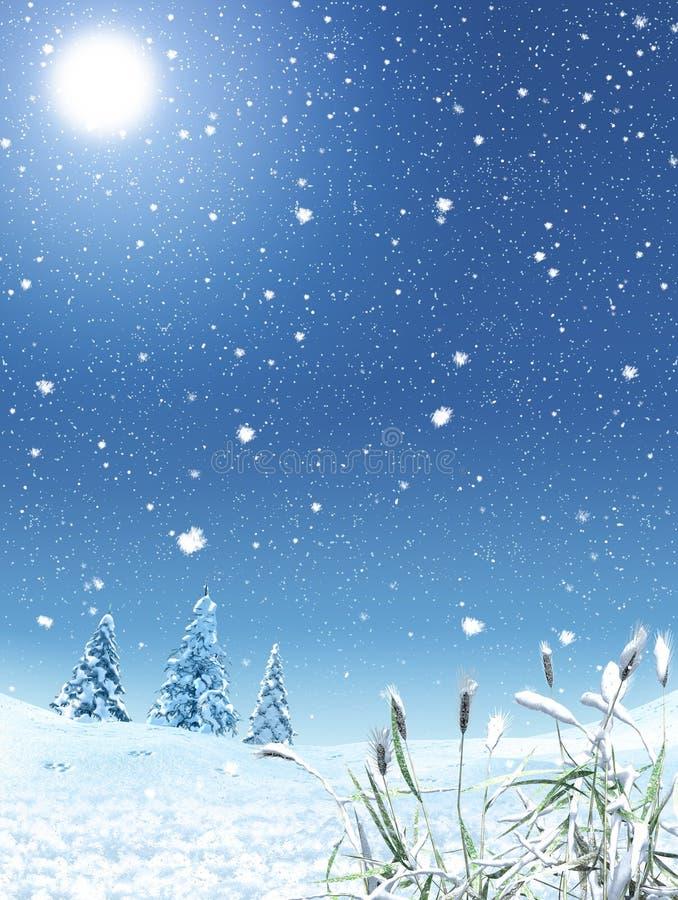Enchanting Winter Landscape with Snowfall stock illustration