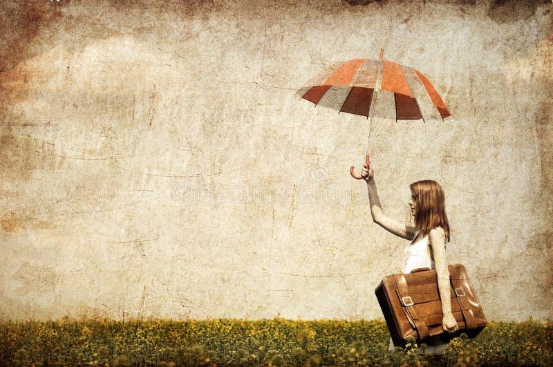 enchantress rudzielec walizki parasol obraz royalty free