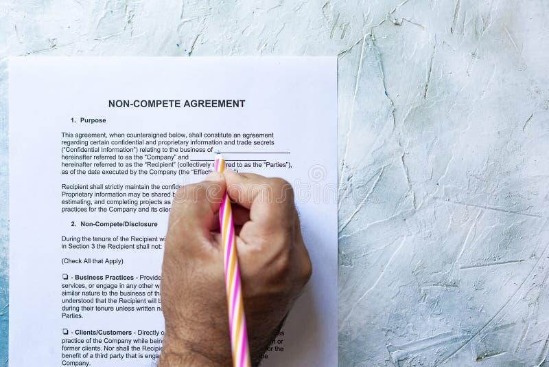 Encher-se Não-compete formulário do acordo foto de stock royalty free