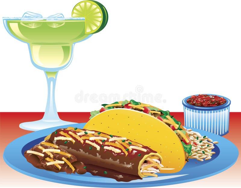 Enchilada meal royalty free illustration