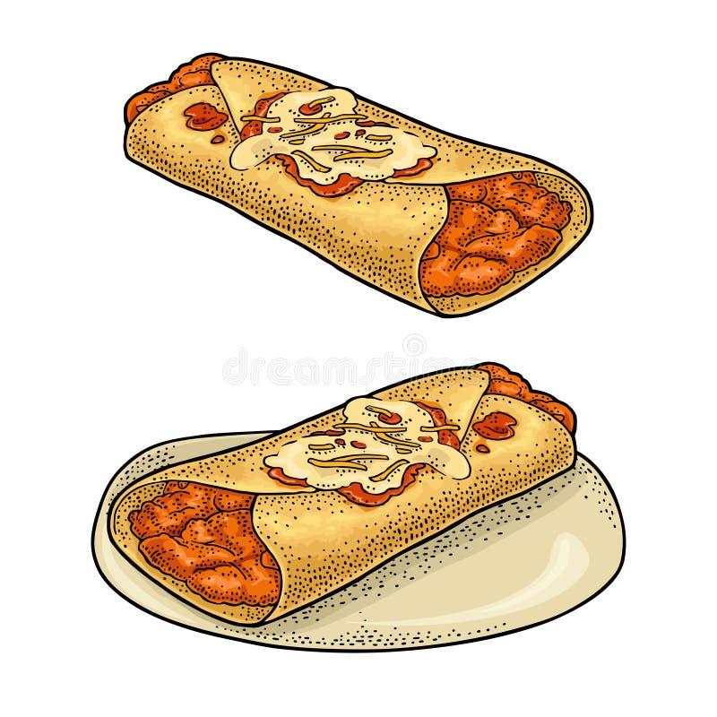 Enchilada - mexikansk traditionell mat Inristad illustration för vektorfärg tappning vektor illustrationer