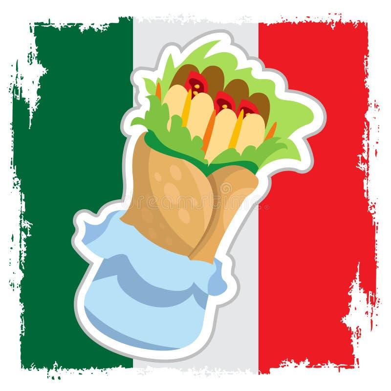 Enchilada på bakgrunden av den mexicanska flaggan Traditionell mexicansk kokkonst royaltyfri illustrationer