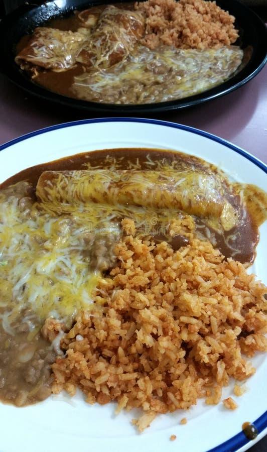 Enchilada Rice i fasole obraz royalty free