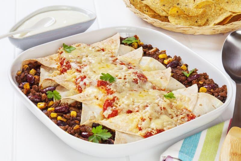 Enchiladas con manzo fotografia stock