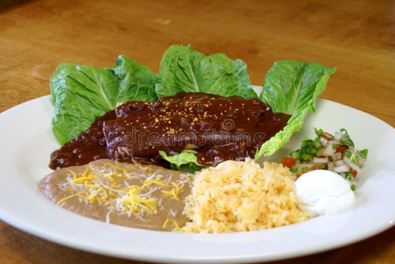 Enchiladas da galinha com molho 2 da toupeira fotos de stock royalty free