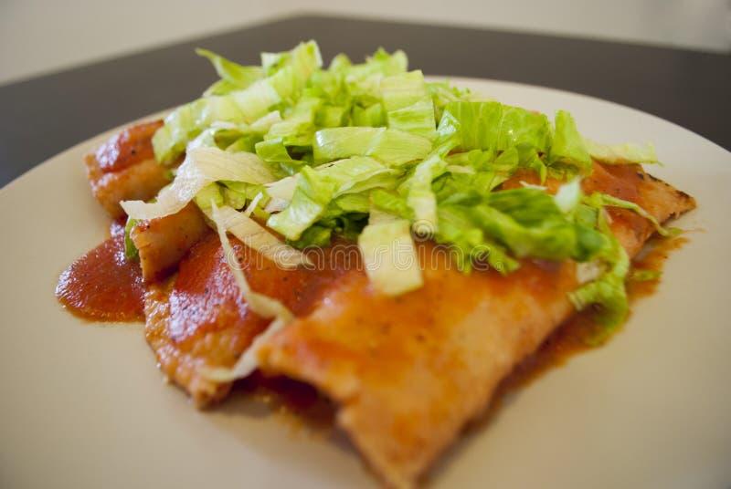 Enchiladas mexicaines de poulet photographie stock libre de droits
