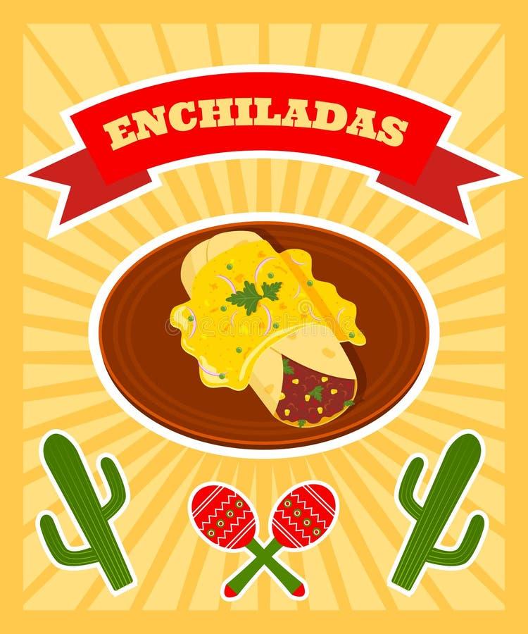 Enchiladasaffisch royaltyfri illustrationer
