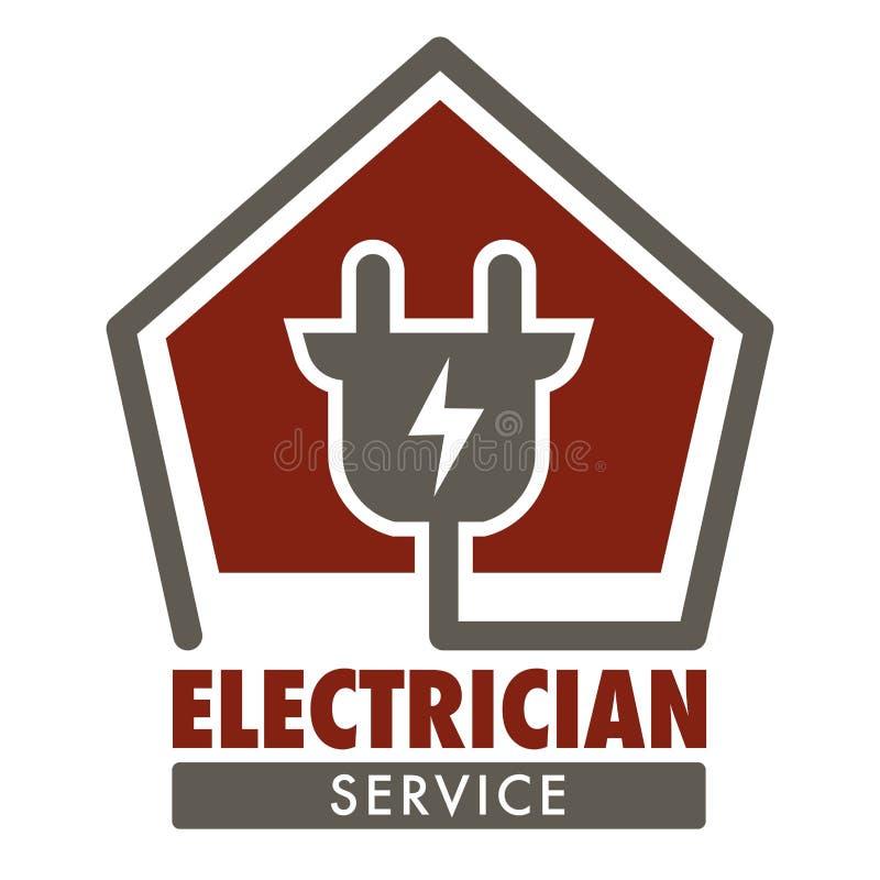 Enchufe aislado servicio del icono del electricista y cableado actual ilustración del vector