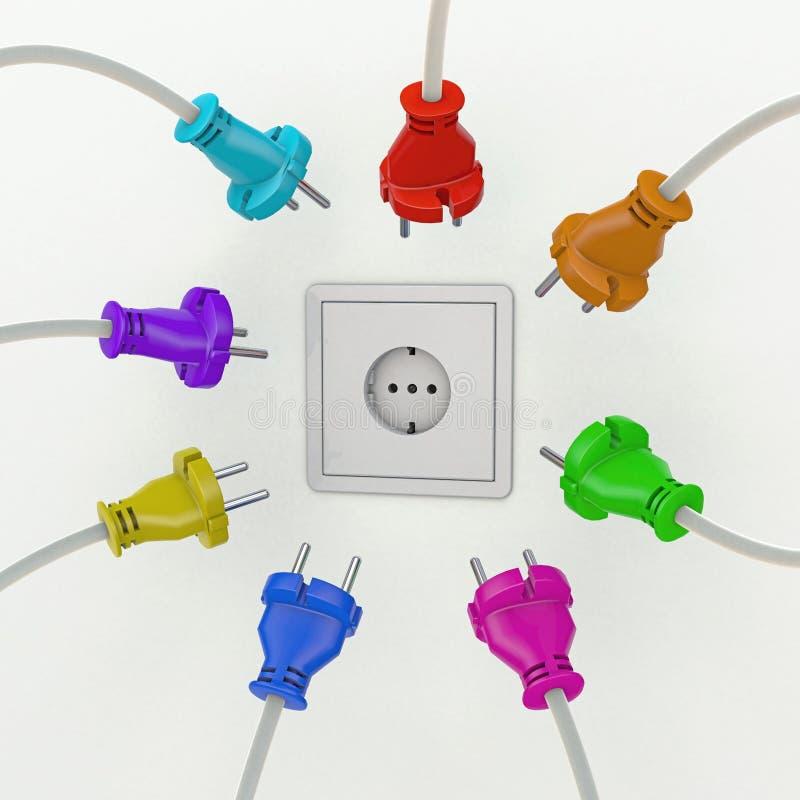 Enchufe de pared con muchos diversos enchufes de potencia europea coloreados alrededor de él ilustración del vector