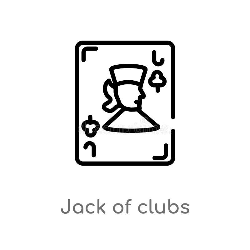enchufe del esquema del icono del vector de los clubs línea simple negra aislada ejemplo del elemento del concepto del juego Movi libre illustration