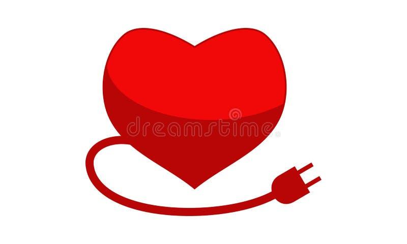 Enchufe Logo Design Template del corazón ilustración del vector