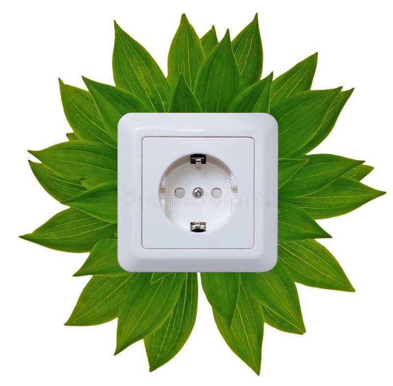 Enchufe verde de la energía imagen de archivo