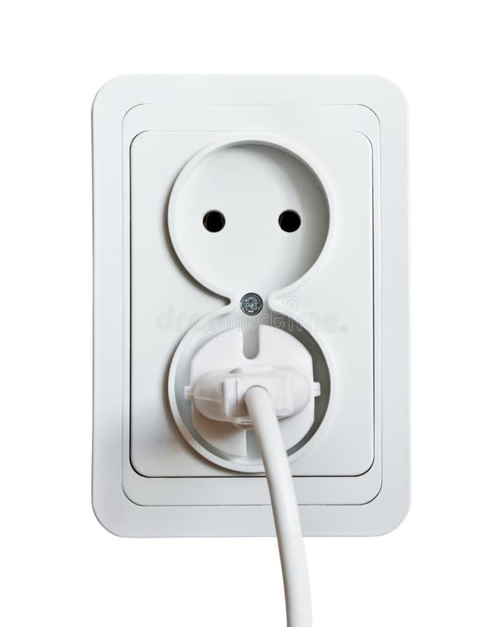 Enchufe y socket blancos de potencia foto de archivo libre de regalías