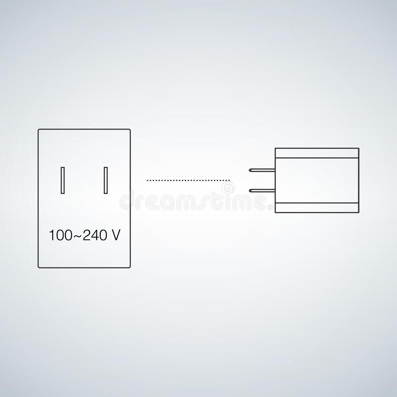 Enchufe y zócalo de la electricidad de la energía eléctrica Cargador eléctrico del dispositivo Concepto de carga de los dispositi stock de ilustración