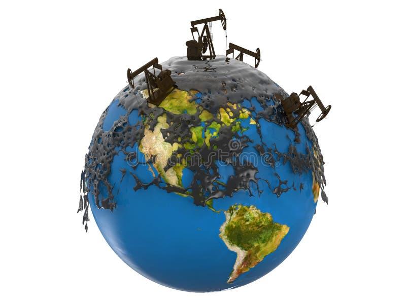Enchufes y derrame de petróleo de la bomba stock de ilustración