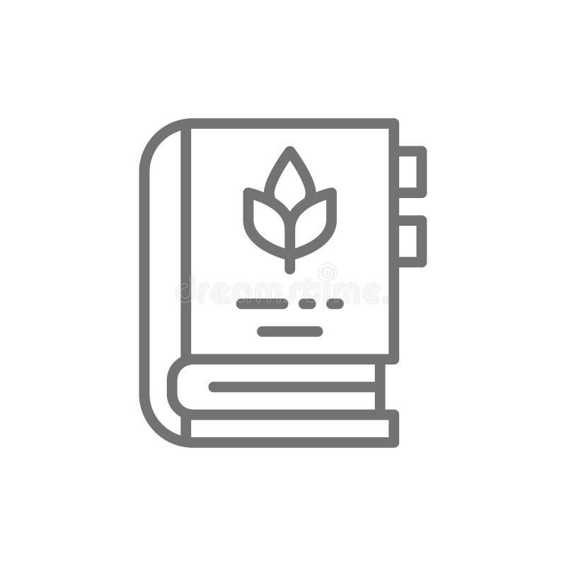 A enciclopédia de plantas medicinais e as ervas alinham o ícone ilustração royalty free