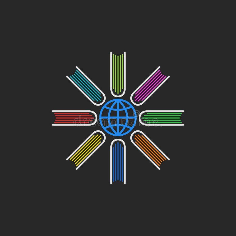 Enciclopédia dos livros do logotipo, livros coloridos encontrados ao redor do mundo, um conceito global do programa educativo ilustração stock