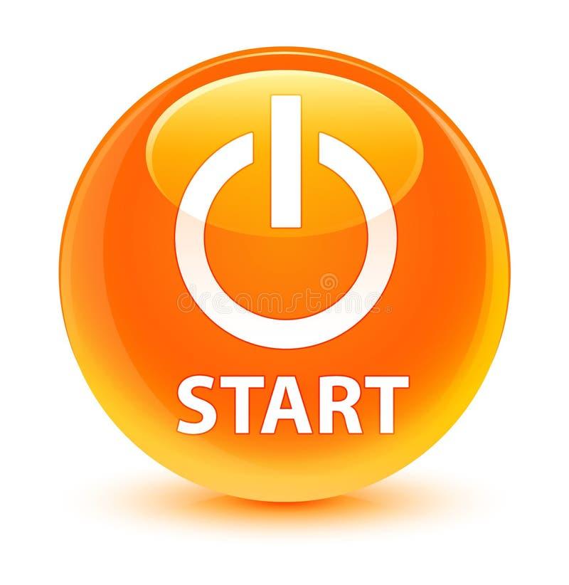 Encienda (icono del poder) el botón redondo anaranjado vidrioso libre illustration