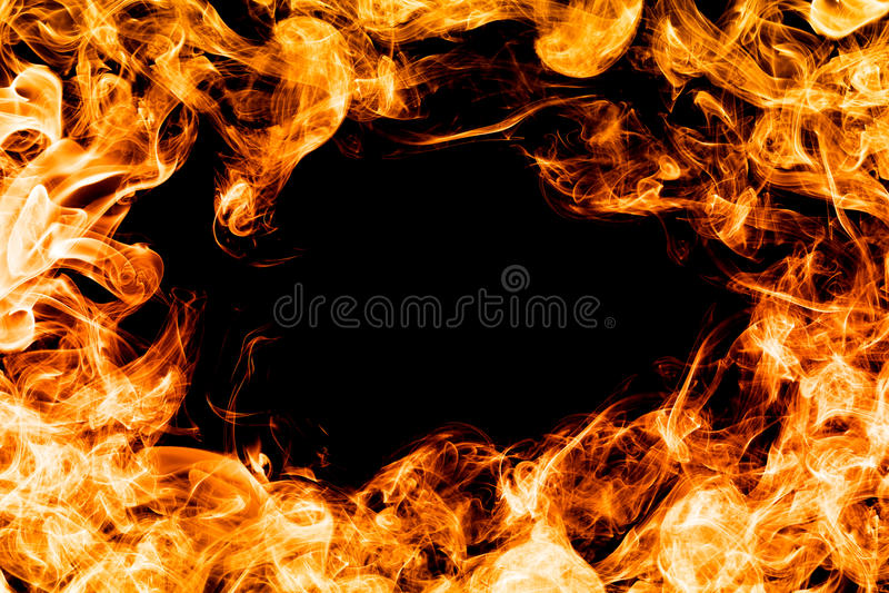 Encienda las llamas en el fondo negro, marco, frontera imagen de archivo
