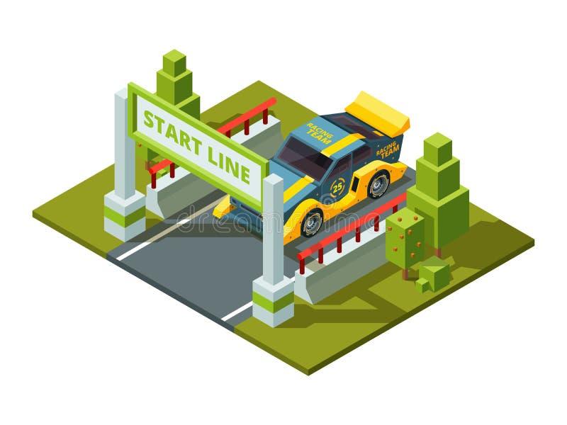 Encienda los coches de carreras Imágenes isométricas del deporte en estilo de la historieta stock de ilustración