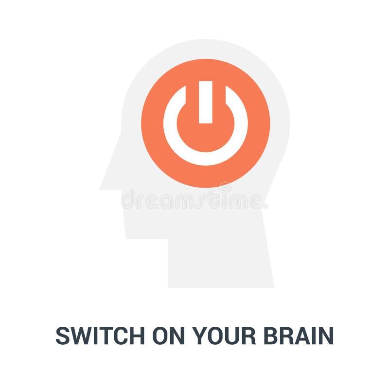 Encienda su concepto del icono del cerebro ilustración del vector