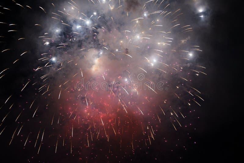 Enciende los fuegos artificiales en el cielo nocturno imagen de archivo libre de regalías