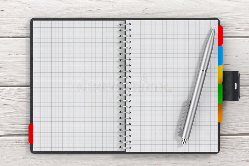 Encierre cerca del libro personal cubierto cuero negro del diario o del organizador ilustración del vector