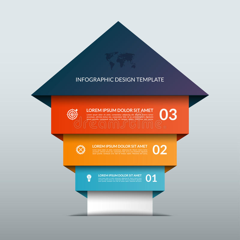 Encima de bandera infographic de las opciones de la flecha ilustración del vector