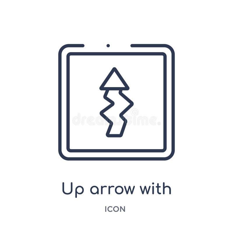 encima de flecha con el icono del trazo de rayo de la colección del esquema de la interfaz de usuario Flecha fina de la formación stock de ilustración