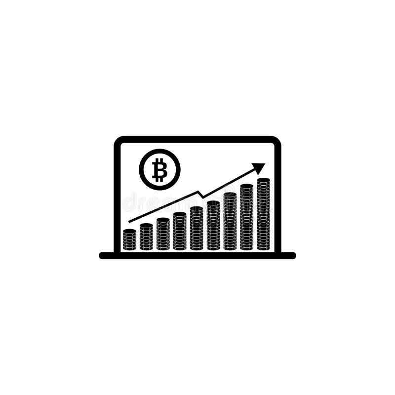 Encima de gráfico con la muestra del bitcoin, diseño del icono del cryptocurrency en ordenador portátil diseño del icono de línea ilustración del vector