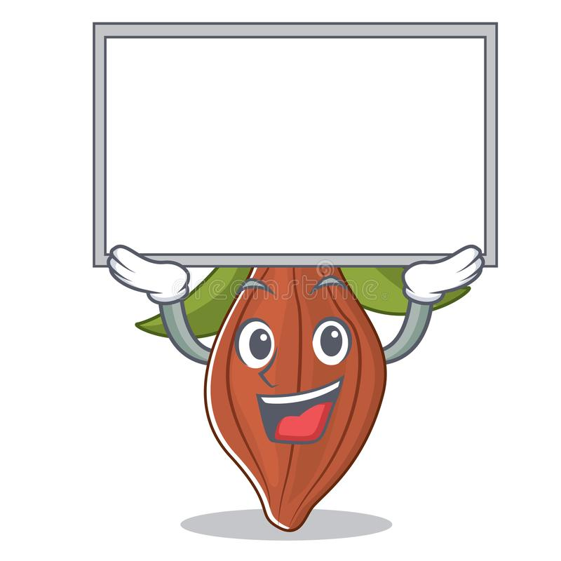 Encima de historieta del carácter de la haba del cacao del tablero ilustración del vector
