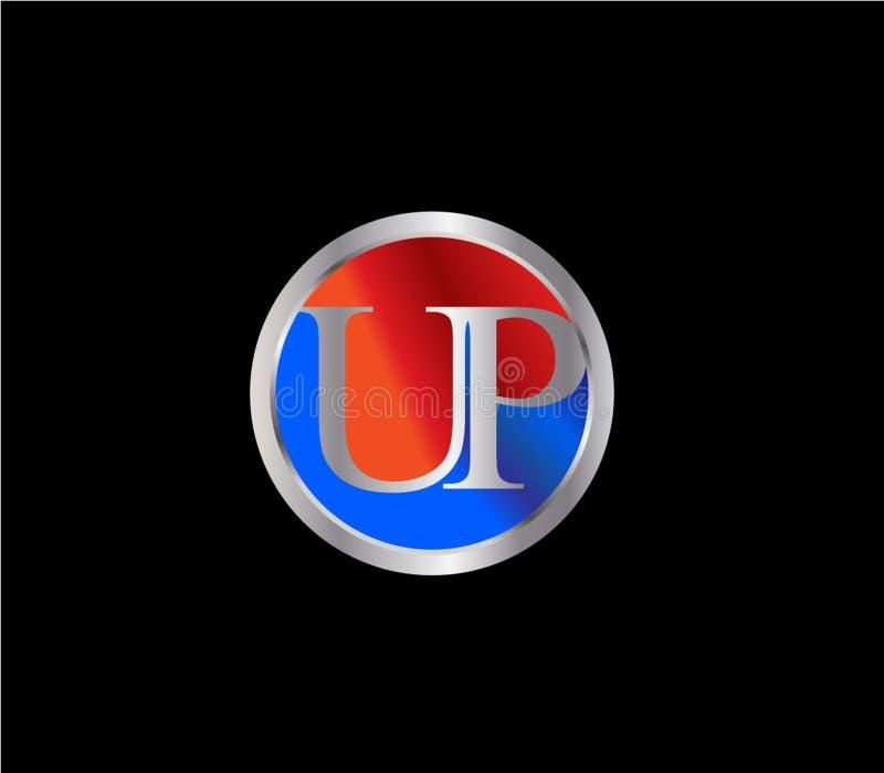 ENCIMA de la forma inicial Logo Design posterior color plata azul rojo del círculo ilustración del vector