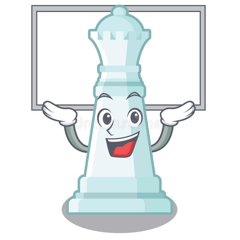 Encima de la reina del ajedrez del tablero aislada en el carácter libre illustration