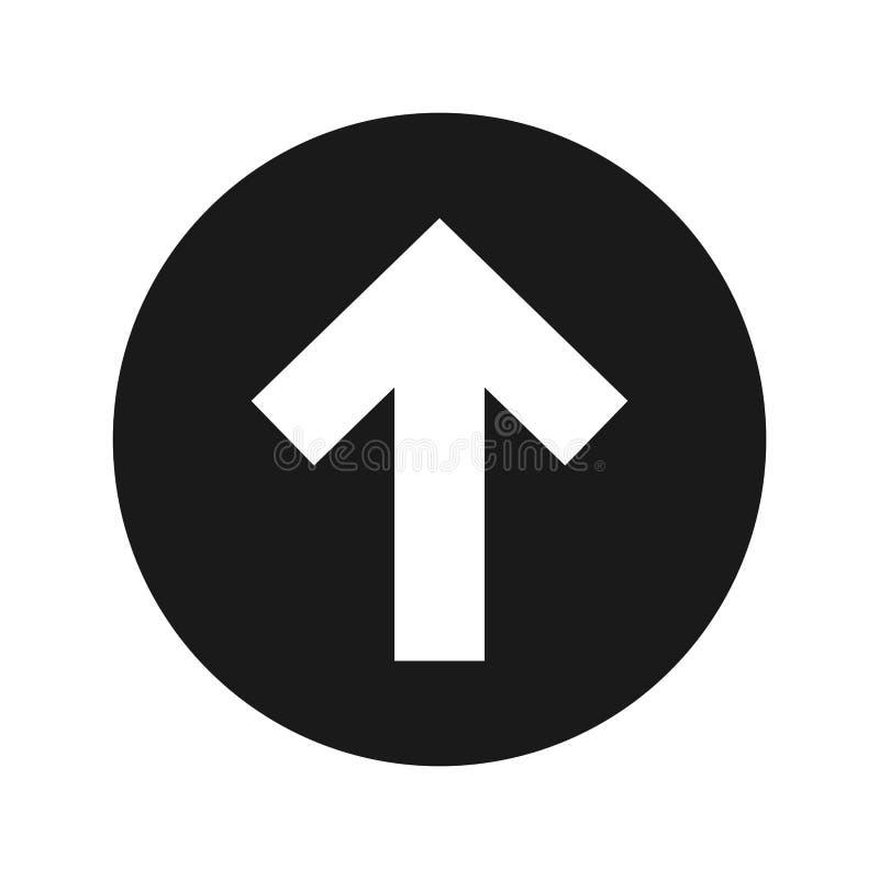 Encima del ejemplo redondo negro plano del vector del botón del icono de la flecha ilustración del vector